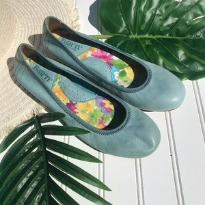 Born Baby Blue Leather Ballet Flats